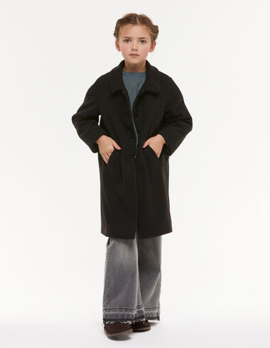 Manteau col rond noir  - Mid-season coats - Nícoli