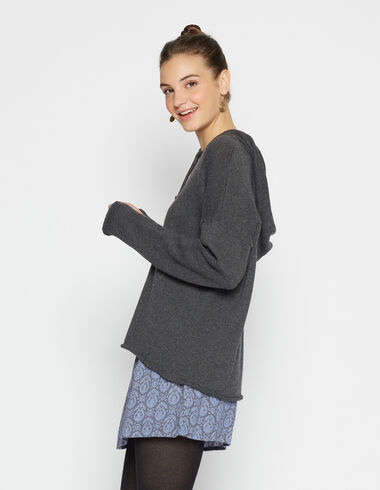 Girl's marengo grey hooded sweater - View all > - Nícoli