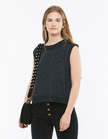 Metallic green sleeveless jumper - Blouses and Tops - Nícoli
