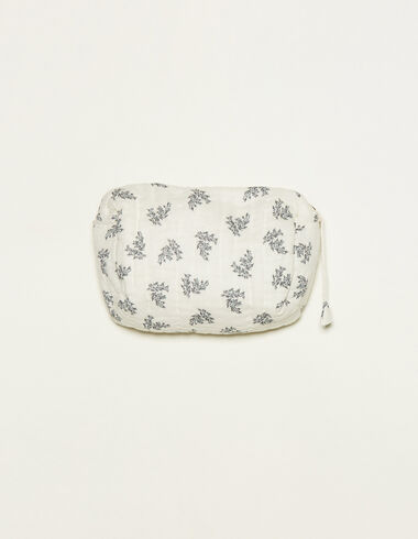 White toiletry bag with blue floral details - View all > - Nícoli