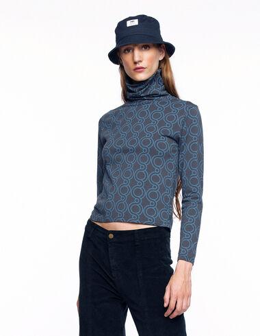 Anthracite geometric print turtleneck T-shirt - View all > - Nícoli