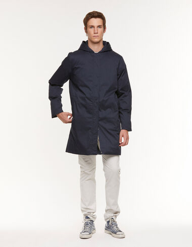 Manteau long capuche bleu - Ropa de abrigo - Nícoli