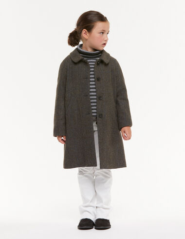 Green herringbone round-neck coat - View all > - Nícoli