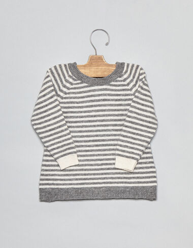 Grey/natural striped baby sweater - Pullovers - Nícoli