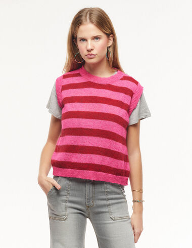 Pink and red striped vest - Waistcoats - Nícoli