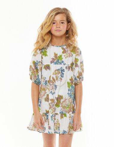 Robe manches ballon grande fleur tropicale bleue - Voir tout > - Nícoli