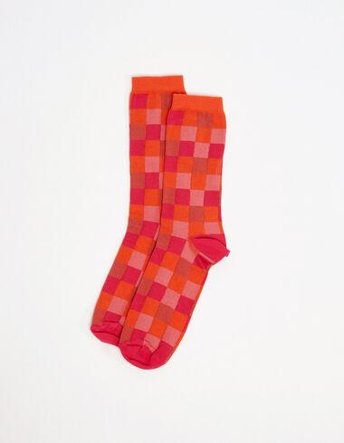 Chaussettes carrés roses et oranges - Voir tout > - Nícoli