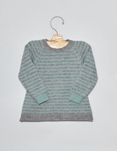 Green striped dark grey baby sweater - Pullovers - Nícoli