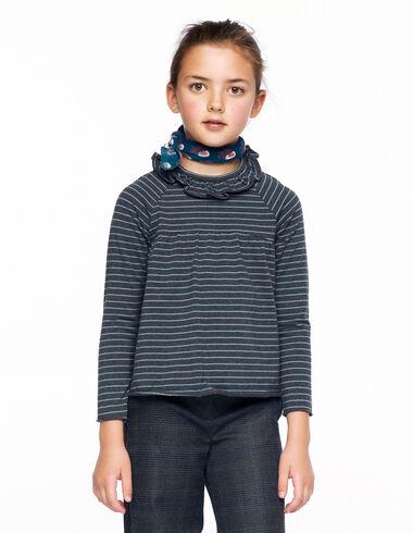 Camiseta corte volante raya antracita y azul claro - Ver todo > - Nícoli