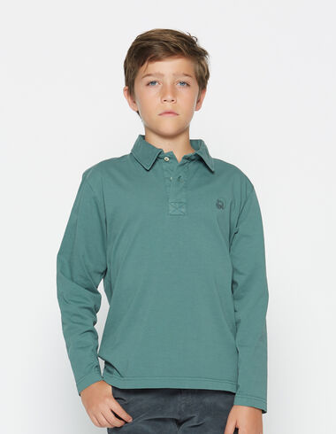 Boy's dark green long-sleeved polo shirt - View all > - Nícoli