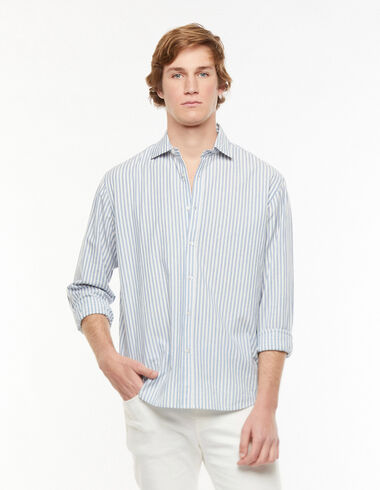 Dark blue stripe V-neck shirt - View all > - Nícoli