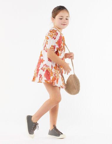 Vestido manga farol flor grande naranja - The Spring Colour For Kids - Nícoli
