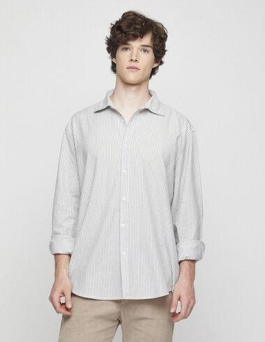 Blue striped v-neck blouse - Shirts - Nícoli