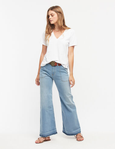 Pantalon large à poches en jean - Denim - Nícoli