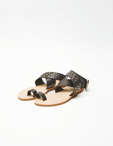 Sandalia tachuelas negra - New Embroidered Paterns - Nícoli