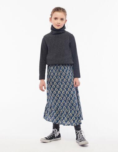 Jupe longue feuilles bleue - Voir tout > - Nícoli