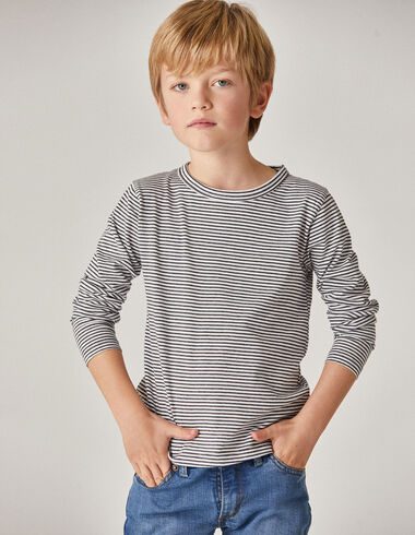 Boy's anthracite/off-white striped top - T-Shirts - Nícoli