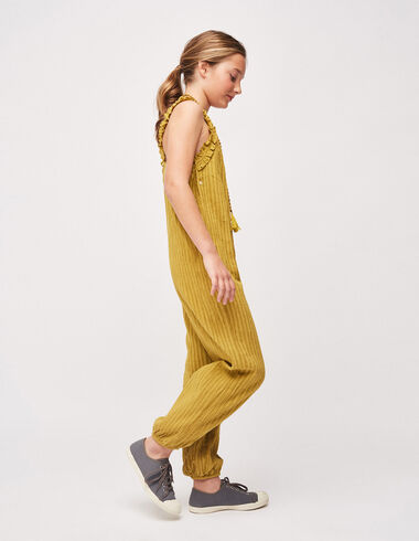 Girl's mustard stripe criss cross back jumpsuit - Girl - Nícoli