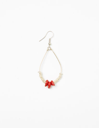 Silver/red tear drop earrings - View all > - Nícoli