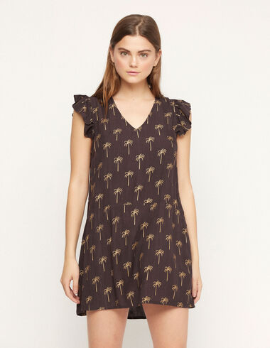 Anthracite palm trees ruffle sleeve dress - Special prices - Nícoli