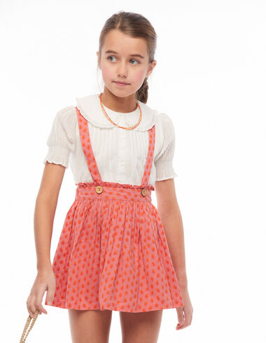 Strawberry leaf print skirt with braces - Pink & White - Nícoli