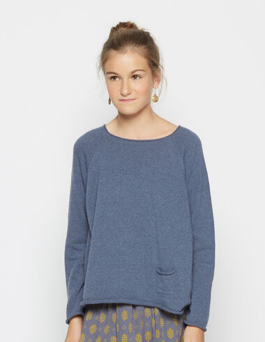 Girl's blue round neck sweater - View all > - Nícoli
