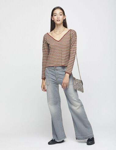 Pantalón ancho bolsillos vaquero gris - Denim - Nícoli
