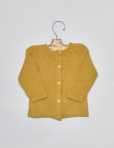 Mustard grey baby cardigan - View all > - Nícoli