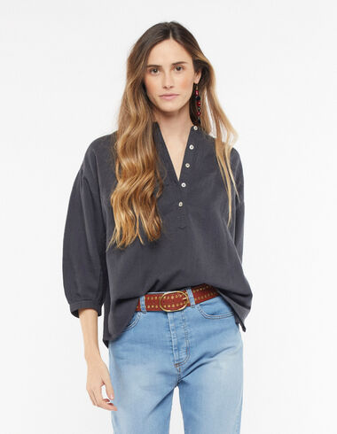 Anthracite lantern sleeve shirt - Blouses and Tops - Nícoli