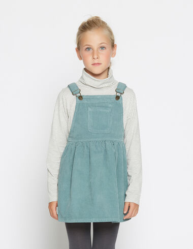 Girl's green corduroy pinafore dress - Jumpers - Nícoli