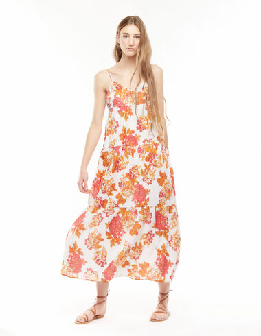 Large orange flower print long dress - Dresses - Nícoli