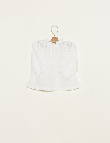 Ecru perkins collar blouse with lace details - View all > - Nícoli