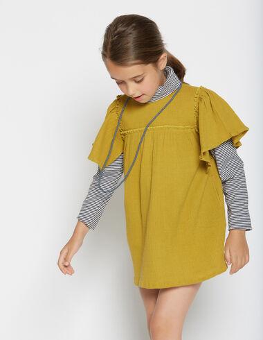 Girl's mustard short bell sleeve dress - Dresses - Nícoli