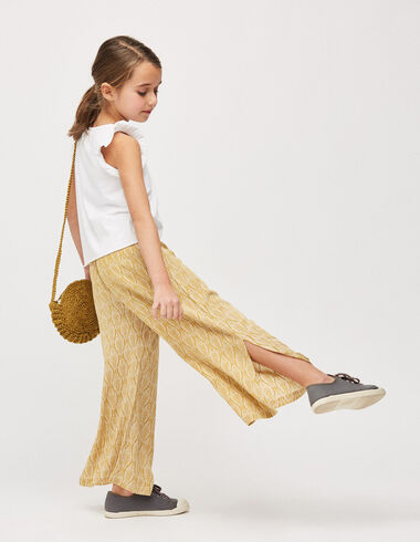 Girl's mustard palm trees trousers with slit - Girl - Nícoli