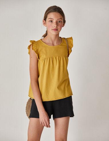 Camiseta niña hombro volante mostaza - Camisetas - Nícoli