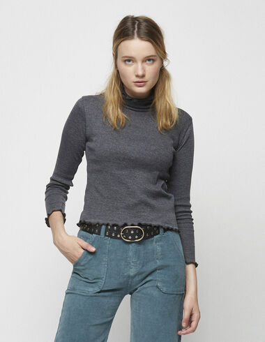 Anthracite turtleneck t-shirt - View all > - Nícoli