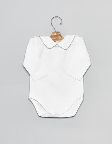 White cotton baby bodysuit with turquoise stitching - View all > - Nícoli
