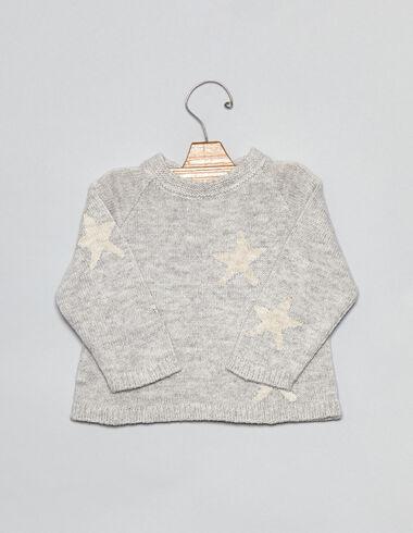 Pull gris étoiles pour bébés - Pulls - Nícoli