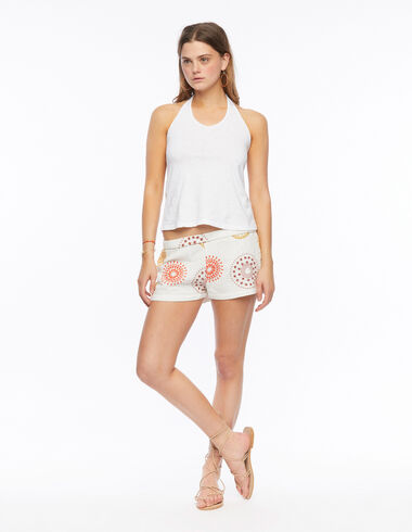Orange and mustard embroidered shorts - The New Embroidered Print - Nícoli