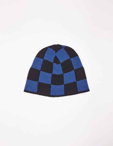Bonnet fille carreaux bleu et noir - All About Socks - Nícoli