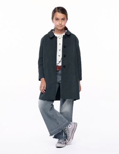 Blue tweed round neck coat - View all > - Nícoli