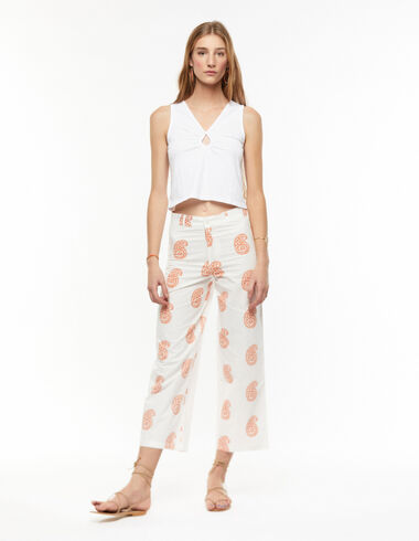 Pantalon large paisley grand orange - Pantalons - Nícoli