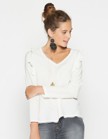Girl's natural shoulder ruffle blouse - View all > - Nícoli