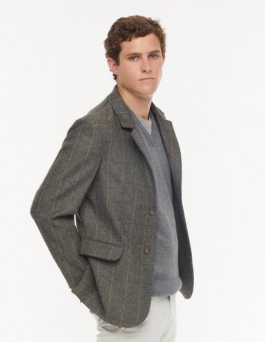 Mustard herringbone striped blazer  - Outerwear - Nícoli