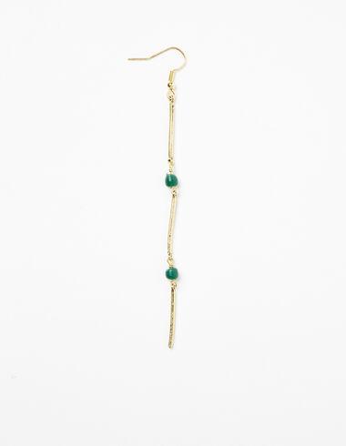 Green stone stick earrings - Earrings - Nícoli