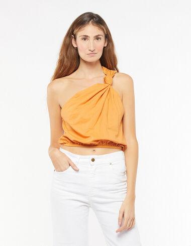 Top asimétrico nudo naranja - Camisas y Tops - Nícoli