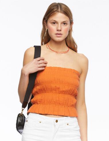 Top frunces naranja - Camisas y Tops - Nícoli