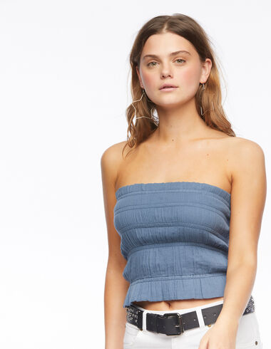 Blue pleated top - View all > - Nícoli
