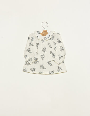 White baby collar blouse with blue floral details - View all > - Nícoli