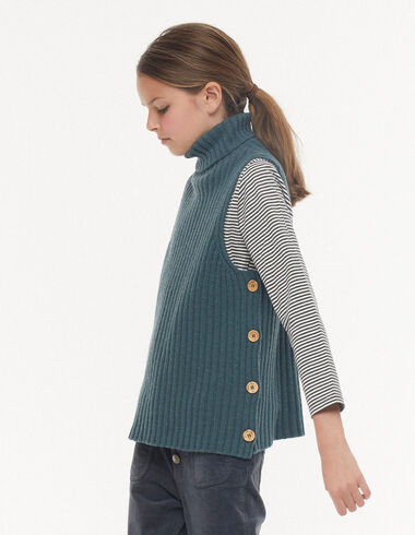 Chaleco cuello vuelto botones verde - Chalecos - Nícoli
